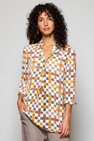 Nomads shawl collar checked tunic