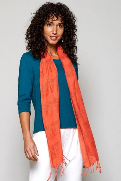 Nomads handloom woven scarf in papaya