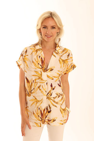 Sunflower yellow petal print tunic top by Pomodoro