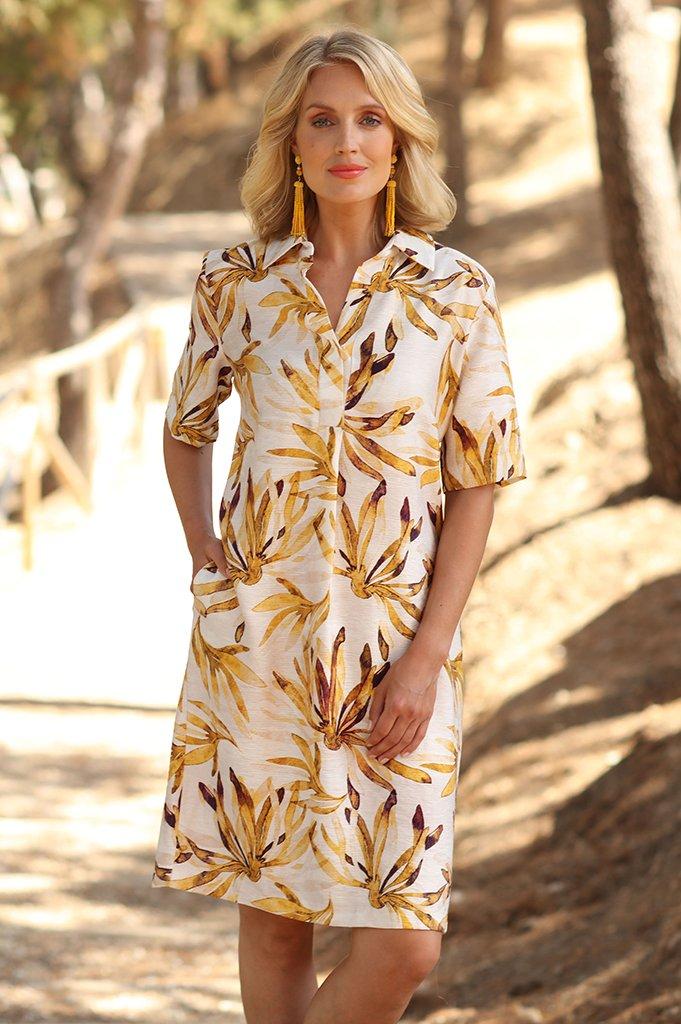 Sunflower yellow petal print shirt dress with pockets