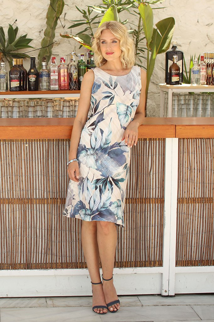 Linen blend pale blue floral print sleeveless dress