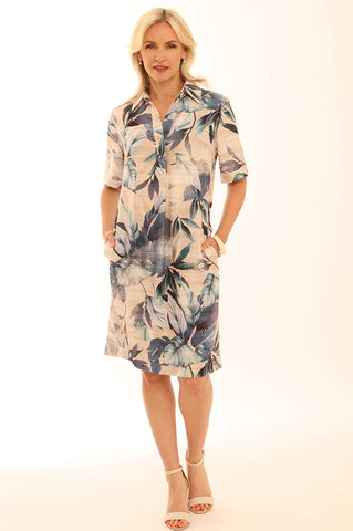 Linen blend floral print shirt dress Pomodoro