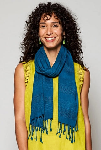 Nomads handloom woven scarf in teal