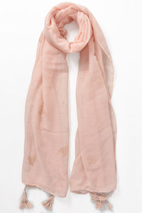 Ladies pink scarf with glitter hearts
