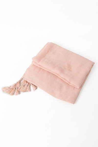 Pink heart scarf with tassels