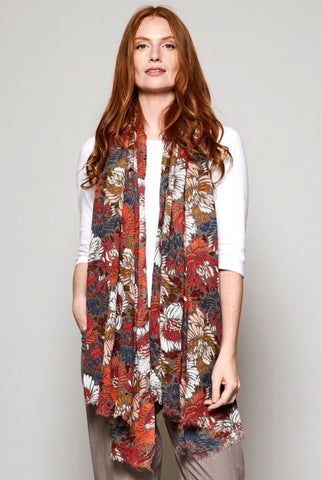 Nomads rhubarb floral large scarf or sarong