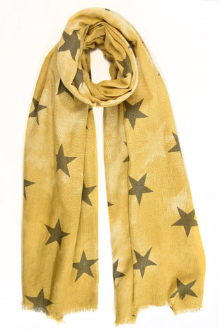 Mustard scarf with black stars