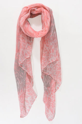 Ladies pink animal print scarf