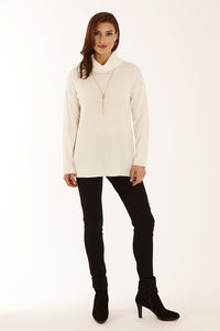 White cashmere roll neck sweater