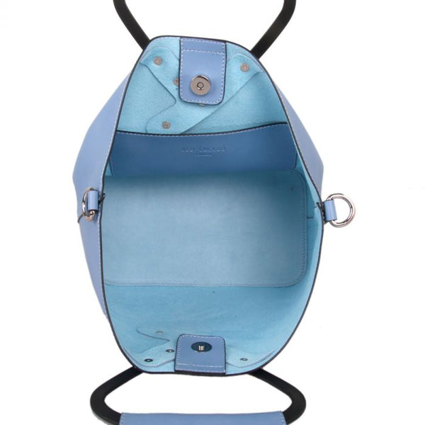 Vegan leather ladies blue handbag