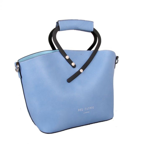 Sky blue faux leather handbag
