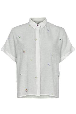Embroidered short sleeve white shirt by Numph