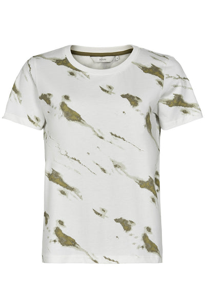 Khaki and white tie dye t-shirt by Numph - classic fit tee