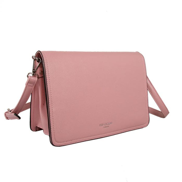 Pink faux leather crossbody bag