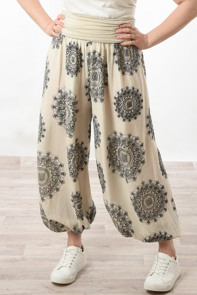Cream mandala harem pants