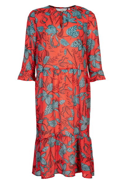 Red floral knee length dress with frill sleeve