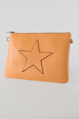 Mustard star faux leather bag