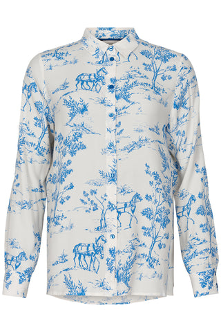 Women's country print shirt with classic fit and full sleeves