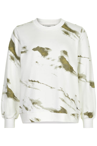 Tie dye sweater sweatshirt by Numph. Khaki and white, classic fit jumper.