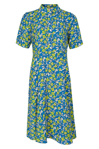 Neon floral print dress with shirt collar and short sleeve by Numph