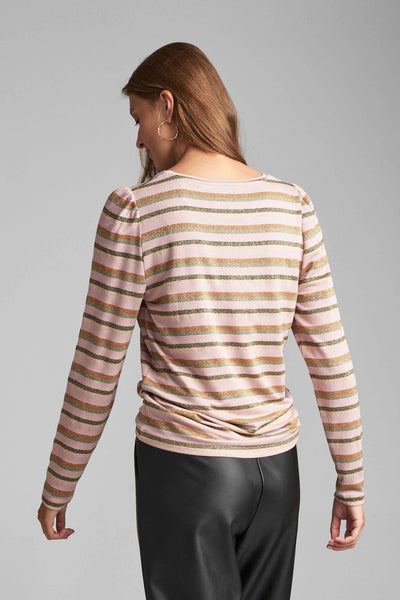 Womens striped top with lurex threa