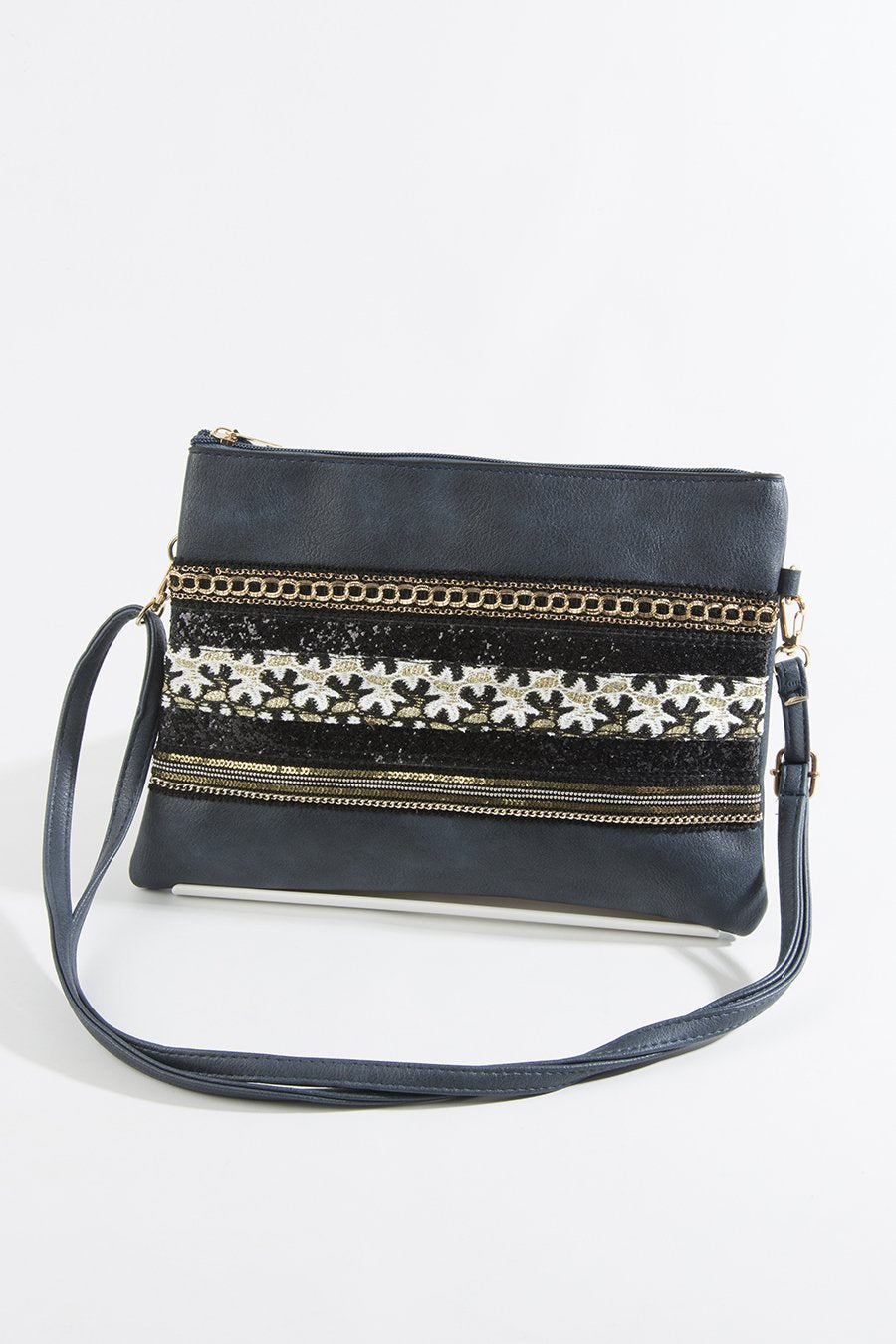 Navy faux leather bag with glitter and sequins