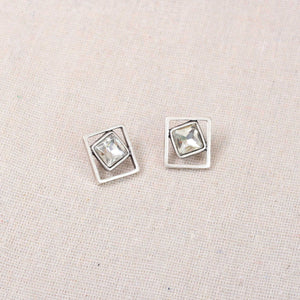 Treaty Bailey clear crystal square earrings