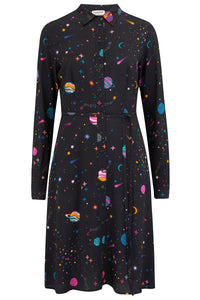 Galaxy printed black shirt dress