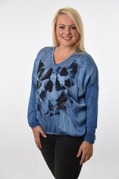 Blue abstract floral print top