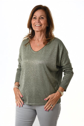 Womens khaki green sparkly jumper