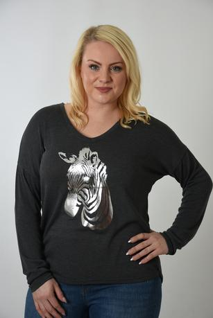 Charcoal grey jumper with silver zebra