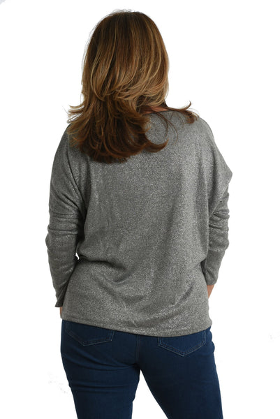 Womens jumper with silver sparkle thread