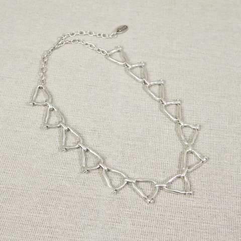 Triangle link silver necklace