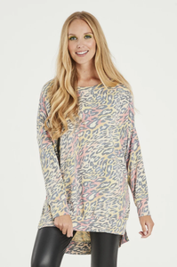 Longline animal print sweatshirt