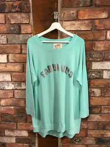 Sweater with Fabulous Slogan in Aqua blue