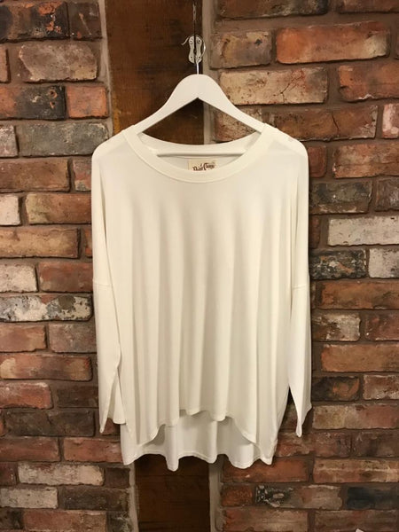 Soft jersey long sleeved white top