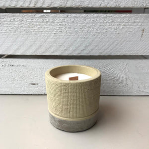 Cream concrete soy wax candle with wooden wick