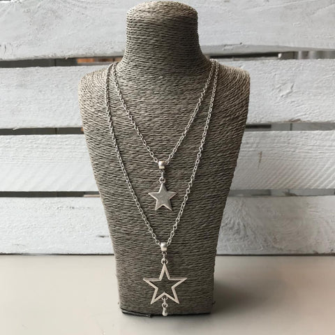 Double layer silver star necklace
