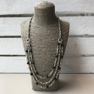 Silver layered necklace with black beads