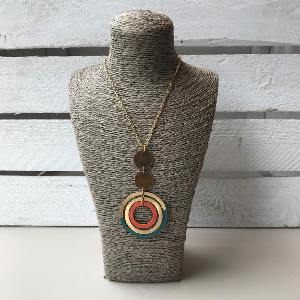 Gold necklace with circle pendent in teal blue & orange