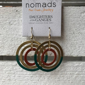 Gold circle earrings with teal & orange