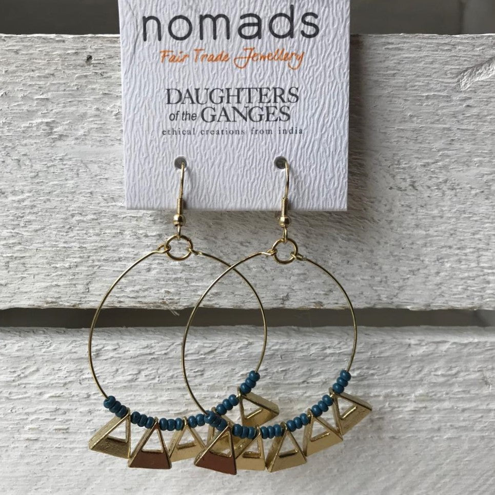 Gold hoop earrings with blue beads & triangles