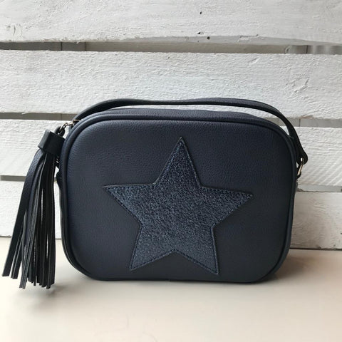 Red Cuckoo star design faux leather crossbody bag at Sleek Boutique clothes shop Nantwich Cheshire