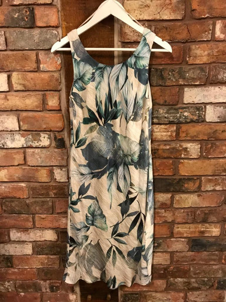 Blue floral sleeveless dress clothing shop Nantwich