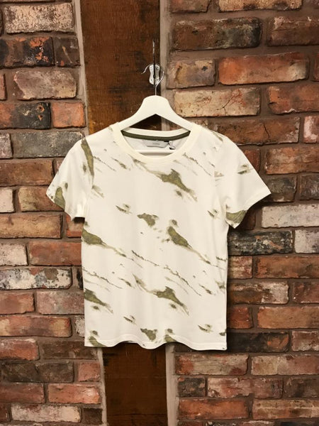 Khaki and white tie dye t-shirt by Numph - classic fit tee hanging at Sleek Boutique