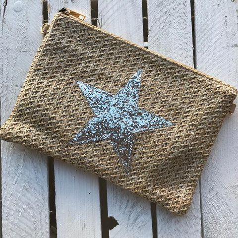 Woven clutch bag with silver star