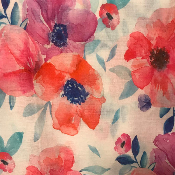 Cream pink blue floral scarf