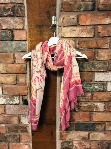 Cotton scarf with glitter floral print