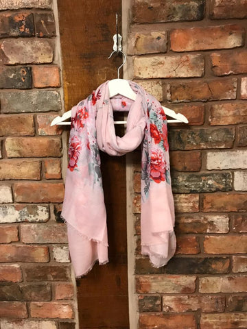 Pink floral cotton scarf with shimmer