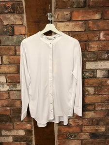 Ladies white shirt by Numph, grandad collar, full sleeve, handing inside Sleek Boutique Nantwich